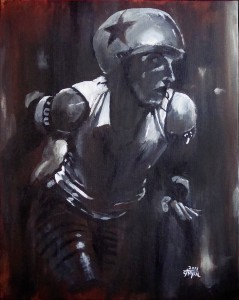 A painting of Slammy Faye of the Naptown Roller Girls