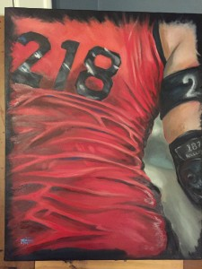 Oil painting of a roller derby players back, bearing the number 218